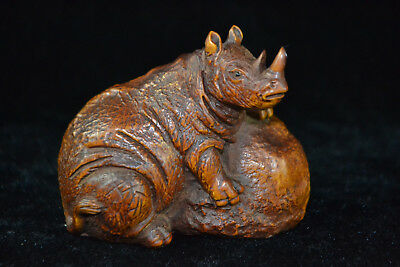 ancient chinese Culture Old Handwork boxwood rhinoceros Japan netsuke Statue