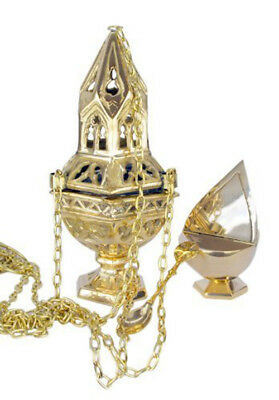 Sacred Vessel Brass Ornate Censer on 36 In Chain with Incense Boat Set, 10 Inch