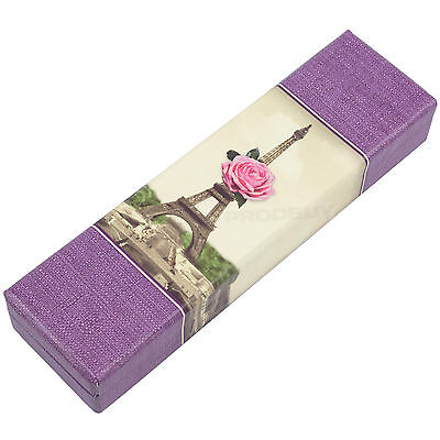 Eiffel Tower Cream Purple Pencil Storage Box Art Stationery Drawing Holder Case