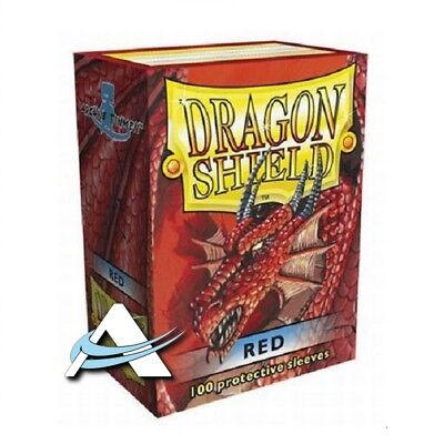 100 Bustine Protettive Standard Size Sleeves DRAGON SHIELD • Rosso Red • Magic