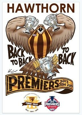 Hawthorn Hawks AFL 2015 Premiership Mark Knight Caricature Illustration Sticker