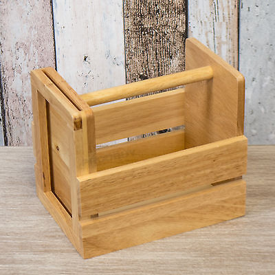 Wooden Cutlery Condiment Sauce Bottles Holder Storage Caddy with Handle Box Pot