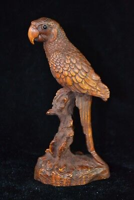 chinese Collectible Old handwork boxwood Carved parrot on branch Statue netsuke