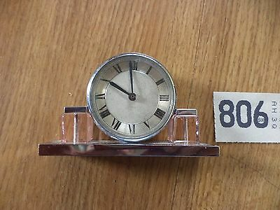 SMALL CHROME ART DECO CLOCK pink glass  ( NEEDS WORK ) VINTAGE CLOCK
