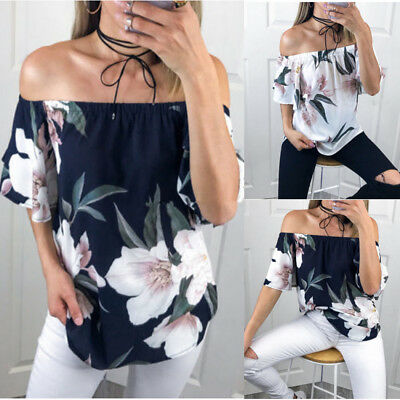 Women Floral Off The Shoulder T-Shirts Strapless Casual Loose Tops Blouse Shirts
