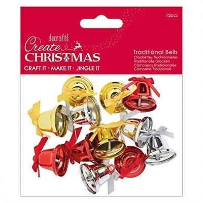 Create Christmas Papermania Traditional Bells (12 Pieces), Multi, One Size