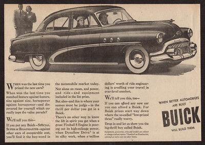 1952 BUICK Special Vintage Original Newspaper Print AD -  Black coupe car art EN