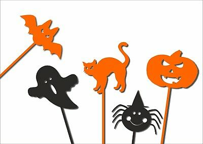 Halloween Cake Toppers Table Decorations Acrylic set of 5 variety Spider Pumpkin