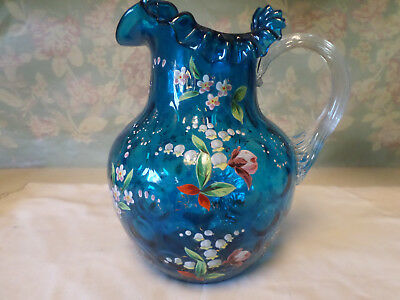 Antique Polka Dot Hand Enameled Lily of the Valley Blue Glass Pitcher (1884)