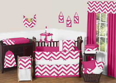Sweet Jojo Designs Hot Pink and White Chevron Zigzag Girl Baby Crib Bedding Set