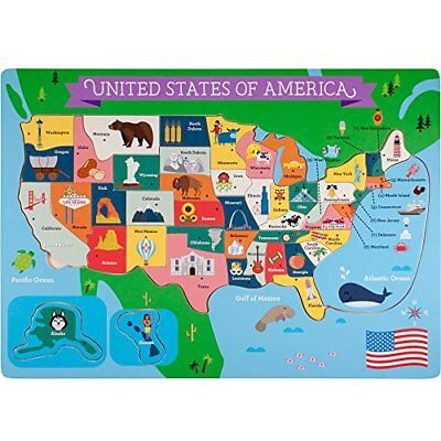 Professor Poplar's Fifty Nifty United States USA Map Wooden Jigsaw Puzzle