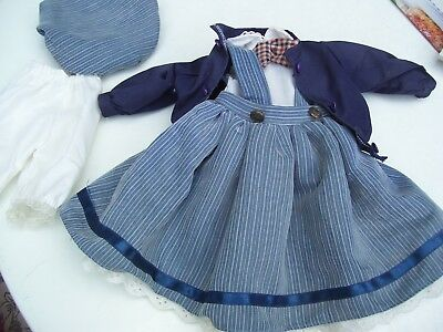 Alte Puppenkleidung Blue Skirt Dress Hat Outfit vintage Doll clothes 45 cm Girl