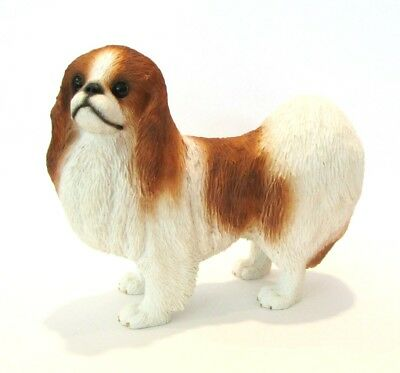 Red White Japanese Chin Dog Figurine - Conversation Concepts