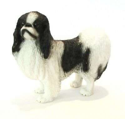 Black White Japanese Chin Dog Figurine - Conversation Concepts