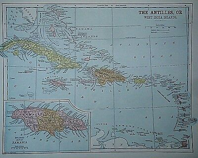 Vintage 1896 CARIBBEAN WEST INDIA ISLANDS MAP Old Authentic Antique Map 96/70318