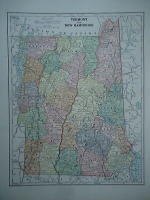 Vintage 1896 NEW HAMPSHIRE  VERMONT MAP Old Authentic Antique Atlas Map 96/70318