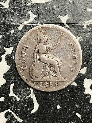 1854 Great Britain 4 Pence Fourpence Lot#X6786 Silver!