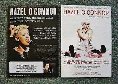 HAZEL O'CONNOR 2 A5 CONCERT FLYERS-from GREATEST HITS &BREAKING GLASS BAREFOOT