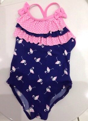 3-6 Months Flamingo Patterned Baby Girls Swimsuit, Bnwt