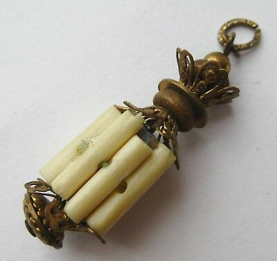 Fine Chinese Sterling Silver Carved Tube Beads Necklace Pendant Toggle