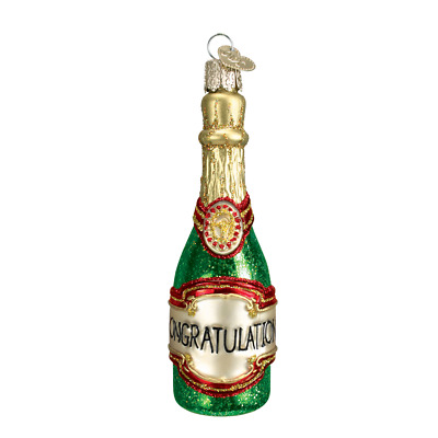 """""""Champagne Bottle"""" (32097)X Old World Christmas Glass Ornament w/OWC Box"""
