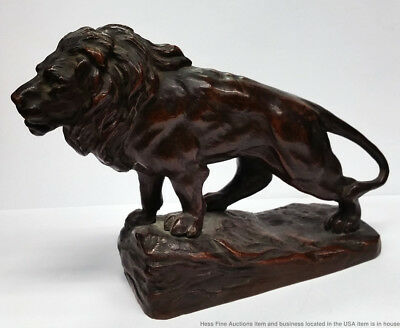Vintage Antique Bronze Lion Sculpture Bayre French Circle Influence Numbered