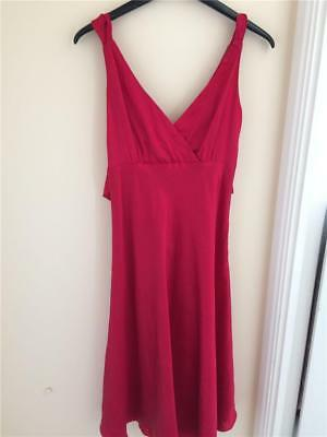 bf40524d Monsoon Red silk Dress size 8 full fitted wedding bow Cruise Prom Midi Cl1