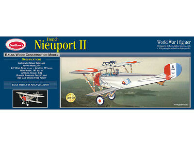 NIEUPORT II WW1 Biplane Fighter Guillow's Balsa Wood model kit#203