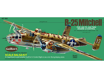 B-25 MITCHELL BOMBER Guillow's Balsa wood flying scale model kit #805