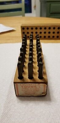 """Young's Machine Made Steel Stamps 1/8"""" Letter  w/ Original Box"""