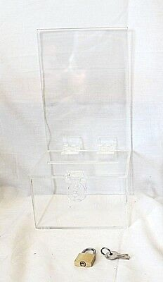 CLEAR Acrylic Display Stand with Donation Box & Padlock With Keys
