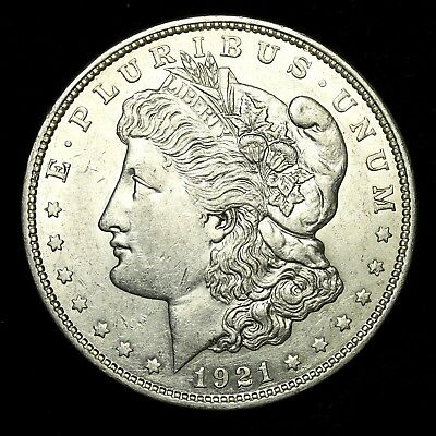 1921 D ~**ABOUT UNCIRCULATED AU**~ Silver Morgan Dollar Rare US Old Coin! #158