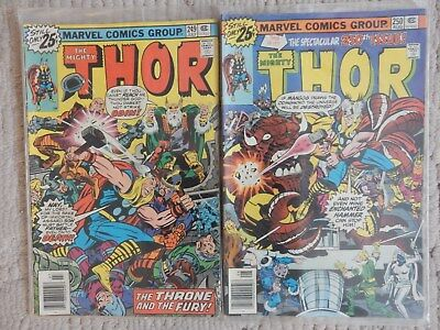 The Mighty Thor 2 Issue Lot #249,250  Vs Mangog,  Very Good To Fine Cond