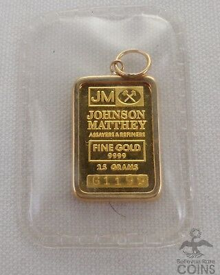 Johnson Matthey 2.5 Grams .9999 Gold in 14k Bezel Protected in Seal - G1199