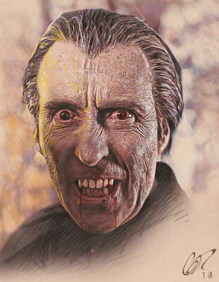 Christopher Lee 'Taste the Blood of Dracula' Mixed Media Art by Frederick Cooper