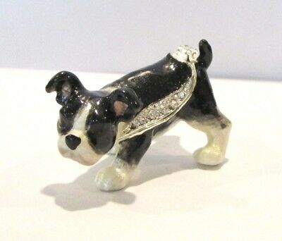 Boston Terrier Dog Puppy Jeweled Hinged Trinket Box - Kingspoint