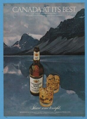 1980 Canada At Its Best Canadian Mist Whisky Bow Lake Alberta photo print ad