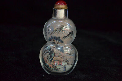old china Vintage glass inside paint scenery Collectible calabash Snuff Bottle