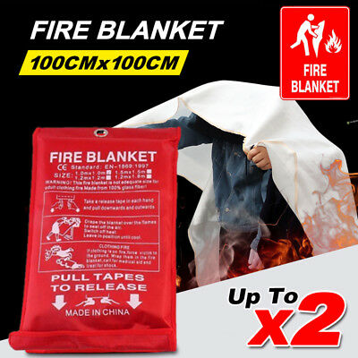 Emergency Survival Fiberglass Fire Blanket Shelter Safety Cover Kitchen Camping