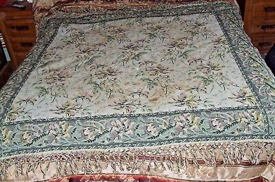 Antique Old? William Morris Fringed Tapestry Rug Throw Table Bed Cover France