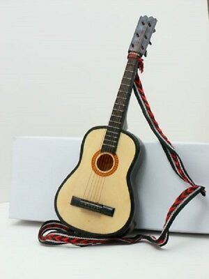 Furniture for Dolls Dollhouse Miniature 1:18 Scale Guitar with cotton strap18029
