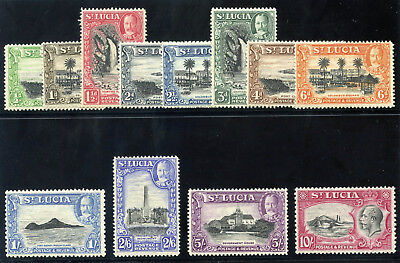 St Lucia 1936 KGV Pictorial Issue set complete MLH. SG 113-124. Sc 95-106.
