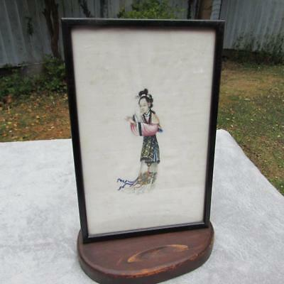BEAUTIFUL CHINESE ANTIQUE 19thC RICE PAPER PITH  PAINTING -  WOMAN