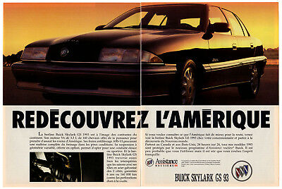 1993 BUICK Skylark GS Vintage Original 2 page Print AD Black photo French Canada
