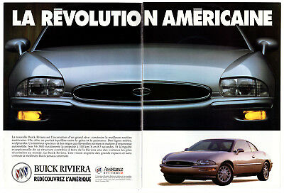 1994 BUICK Riviera Vintage Original 2 page Print AD Gray car photo French Canada