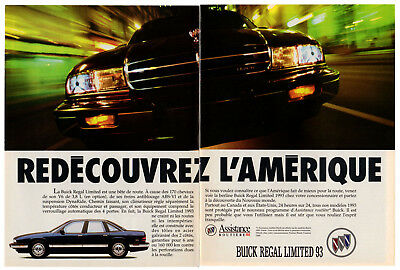 1993 BUICK Regal Limited Vintage Original 2 page Print AD Black car photo Canada