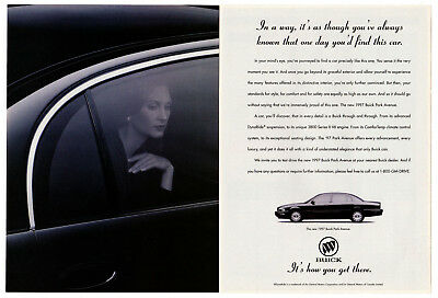 1997 BUICK Park Avenue Vintage Original 2 page Print AD Romantic woman photo CA