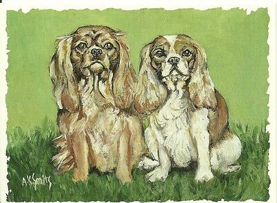Little King and Queen,  Cavalier King Charles Spaniel blank note card sale