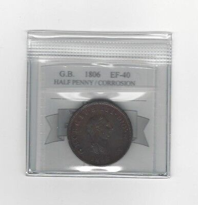 **1806**Great Britain, Half Penny, KM#662, Coin Mart Graded **EF-40 Corrosion**