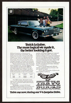 1980 BUICK LeSabre Vintage Original Print AD Blue car photo V6 surprise drive EN